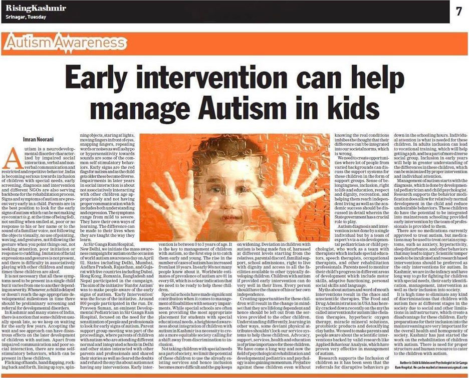 Early Intervention Can Help Manage Autism in Kids